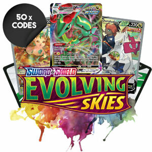🔥 CHEAPEST 50x Pokémon EVOLVING SKIES Online Code Booster Cards EMAILED FAST 🔥