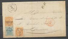 1870 Lettre Italie N°23 et 24 Obl 1697 PETTINENGO + Italie St Michel rge P2829