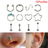 12Pcs/Set Hoop Nose Ear Rings Tragus Cartilage Earrings Piercing Body Jewelry V!