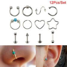 12Pcs/Set Hoop Nose Ear Rings Tragus Cartilage Earrings Piercing Body Jewelry RG