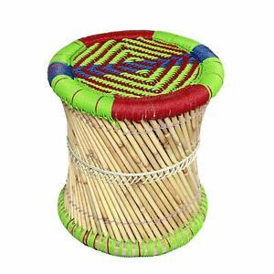 "Pushkari Handmade 14"" Inches Manjola/Muddha Footstool/Pouf Multicolored 1 Piece"