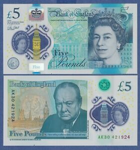 GREAT BRITAIN / UK / ENGLAND 5 POUNDS (2016) P-394 UNC Polymer Note - QE II