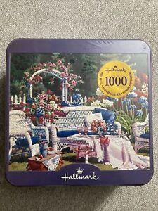 Hasbro Hallmark Collectible Tin Jigsaw Puzzle Pink Florals 1,000 Pieces 12+