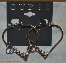 GUESS Silver Metal Finish & Clear Rhinestone Heart Shaped Hoops Earrings W/ LOGO