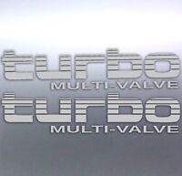 2x Silver Turbo Multi-Valve Stickers Toyota Landcruiser 4WD 4x4 Australia made