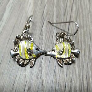 Designer Kabana Sterling Silver Yellow Enamel Angel Fish Dangle Earrings