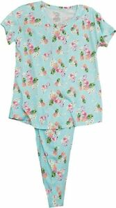 SECRET TREASURES BLUE PINK FLAMINGOS PINEAPPLES PAJAMAS TOP & LONG PANTS LARGE