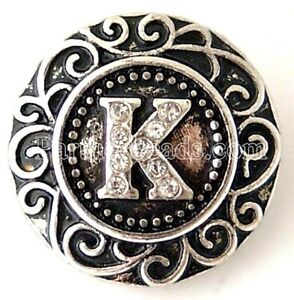"""Letter """"K"""" Rhinestone 20mm Snap Charm Interchangeable Jewelry Fits Ginger Snaps"""