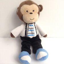 Baby Gear Boy Monkey Plush Necktie Suspenders Blu Shoes Lovey 11 Inches