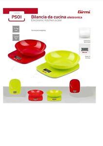Girmi PS01 Bilancia Electronic Kitchen Scale LCD with Bowl Max 5Kg Colours