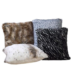"22"" x 22"" Ultra-Soft Animal Faux Fur Pillow w Memory Foam (Choose Color)"