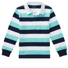 Ralph Lauren Polo Blue White Striped Rugby Shirt Top Size Age 1.5 to 2 Years