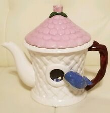 Bird House Teapot Bluebird Spring White Lattice Cottage Teleflora