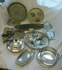More details for huge job lot of vintage and antique silver plated trays platters cutlery pots