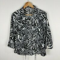 Noni B Womens Top Medium Black White Animal Print 3/4 Sleeve Collared