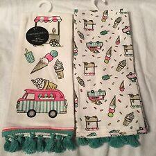 Cynthia Rowley Ice Cream Truck Cart VW Volks Wagon Set 2 Kitchen Towel NWT!