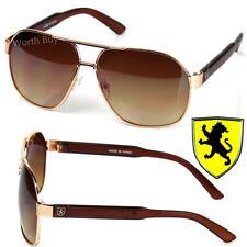 Nuevo Khan Gafas Diseño Hombre Moderno Gafas de Sol Metálico Retro Oro Marrón