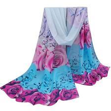 2018 Fashion Long Soft Women Chiffon Silk Floral Scarf Wrap Shawl Stole Scarves Blue
