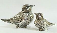 Vintage solid Sterling Silver Sparrow Birds Portugal Salt & Pepper Portugal