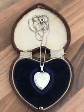 Sterling Silver Engraved Heart Locket Necklace 4.57gr