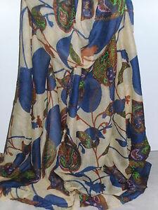 BNWT-Ex Long-Beige/Blue Paisley Leaf Design Shawl Scarf/Sarong-180cm x110cm