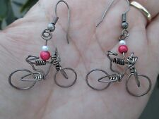 Bicycle Shaped 3D Earrings Handmade Silver Wire Beads Jewelry Cycling Unique Set