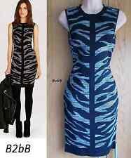 NewWT Karen Millen black grey bodycon zebra jacquard knit zip dress Sz 2 UK 10