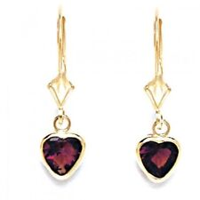 Women/Children 14K Gold Alexandrite June Birthstone Dangle Heart Shape Earrings