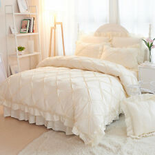 4pcs Bedding Set Luxury Princess Wedding Duvet cover Bed skirt 2 pillow shames