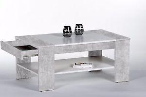 Couchtisch Finley Plus, Beton Weiß, Wohnzimmertisch, Stubentisch, Tisch, 100x58