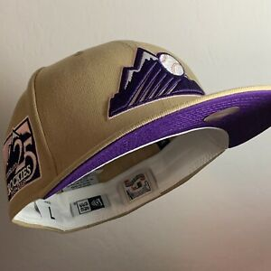 Exclusive Fitted Colorado Rockies 25th Anniversary Oatmeal Purple UV Fitted 7