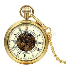 Antique Retro Gold Tone Roman Numberas Hand-winding Mechanical Pocket Watch Gift