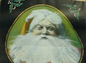 ANTIQUE SANTA CLAUSE CHRISTMAS CLUB POSTER 19.5 X 30 EPHEMERA PAPER ADVERTISING