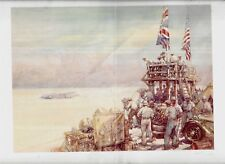 RARE LIMITED EDITION WATERCOLOR PRINT 669/1000 AMERICAN BRITISH FLAGS MOVIE CAME