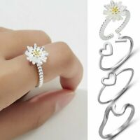 Women Silver Plated Jewelry Heart Daisy Flower Wedding Adjustable Ring Gift