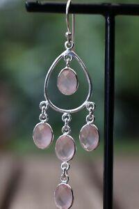 Rose Quartz Earrings Gemstone Fine Handmade Sterling 925 Silver Earrings
