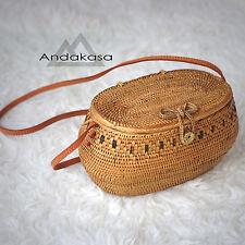 Round Ata Rattan Summer Bag, Round Brown Woven Bag , Beautiful Picnic Bag