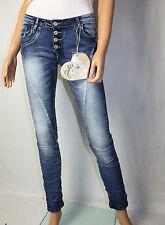 BLUE RAGS CASCANTE jeans pantaloni bottoni elasticizzato TGL 38 USATO BLU DENIM