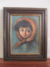Vintage Original Signed Portrait of Country Girl with Scarf One of Pair Oil/C