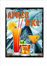 Apres Ski Neuheit Metallschild Zeichen Schifahren Pub Rotwein Bar Ski-zeichen
