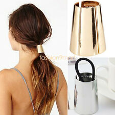 Girl Punk Metal Hair Cuff Stretch Ponytail Elastic Rope Hairband Tie Holder Ring