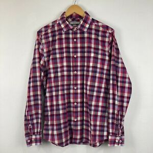 Marcs Mens Button Up Shirt Size M Multicoloured Check Long Sleeve Collared Slim