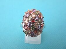925 Sterling Silver Ring With Multi-Gemstones UK R, US 8.50 (rg2785)