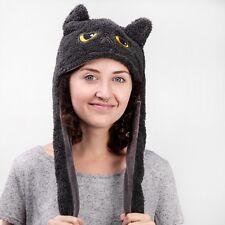 SMOKO Animated Grumpy Cat Beanie Hat Ears Flaps Cosplay Gray Winter Cute