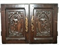 Pair nude wooman carving cabinet panel door Antique french architectural salvage
