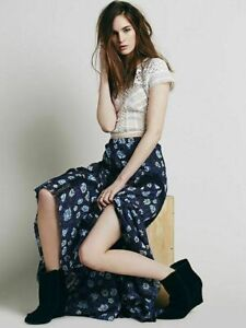 Free People Zoe Floral Maxi Skirt Indigo Combo Lace Inset Lined M