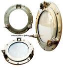"""Antique Style 18"""" Aluminum Ship Porthole Mirror Windows Glass Nautical Gift"""