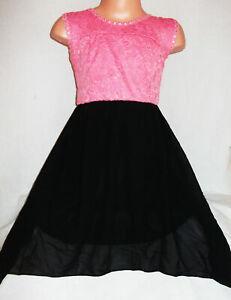 GIRLS CORAL LACE BLACK CHIFFON CONTRAST BOW TRIM PARTY DRESS age 3-4