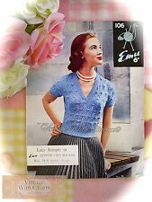 Vintage 1950s Knitting Pattern Lady's Diamond V-Neck Lace Jumper Fit 34-36 Bust