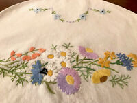 VINTAGE HAND EMBROIDERED Off White LINEN TEA COSY COVER - FLOWERS 15x10.5 Inch